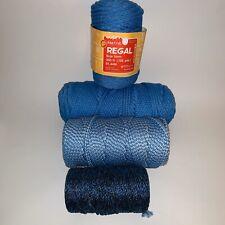 4 Vintage Maxi Cord Twisted Knot Craft 5mm Blue Macramé Yarn 400+ Yards