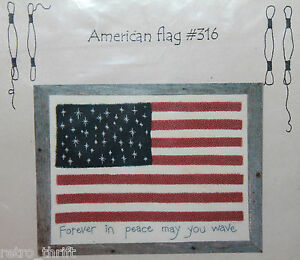 Cottage Needleworks American Flag #316 Embroidery Kit 18x22 Cotton Muslin NEW
