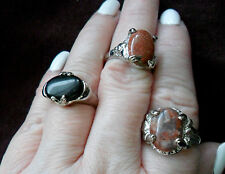 LOT OF THREE WOMEN'S RINGS - SILVER WITH JASPER ONYX ORANGE STONES - Sizes 7-8