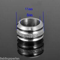 5 Edelstahl Silber Zylinder Metallperlen Matt European Beads Spacer 7mmx11mm