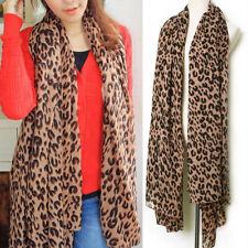 Ladies Women Fashion Brown Animal Leopard Print Scarf UK