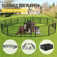 16Panel Heavy Duty Metal Cage Crate Pet Dog Cat Fence Exercise Playpen Kennel BK