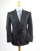 Pinstripe Mens Grey Striped Wool Blend Double Breasted Suit Jacket 42 (Regular)