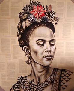 Frida Kahlo Mixed Media Contemporary Fine Art Painting Hand Painted Painting