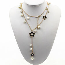 Women Flower Faux Pearl Sweater Long Chain Necklace Charm Pendant Jewelry Gift