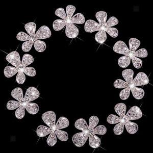 10Pcs Crystal Flower Rhinestone Buttons DIY Craft Wedding Embellishment