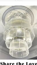 Kayelle Pendant Chandelier, Brass & Fluted Glass | Pendant