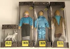 VERY RARE COMPLETE SET 4 TINTIN VINTAGE DOLLS  HAND PAINTED  HERGÉ COLLECTION