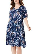 Woman Within ladies dress plus size 32 blue sprinkle floral crinkle short sleeve