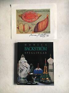 Monica Backstrom Signed Book & Print RARE Kosta Boda Swedish Glass Art Inscribed