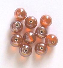 12 of: 10mm round lustered glass beads, orange, for jewellery making and crafts