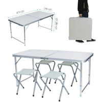 Dining Desk Portable Camping Table 4-Person Folding Aluminum Picnic Party in/Out