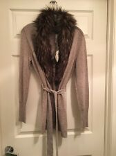 27 Miles Ina Fur Belted Cardigan Small NWT Confetti Color $308 Retail