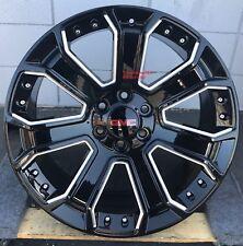 "22"" GMC Yukon Denali Wheels Black Tires TPMS fit Chevy Silverado Sierra Tahoe"