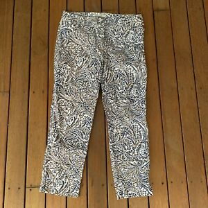Sportscraft Size 12 Crop Pants White Colourful Floral Casual