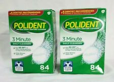 Lot of 2 Polident 3-Minute Denture Cleanser 84 Tablets Cleaner Antibacterial-NEW