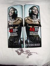 African American Magazine Clutch Purse Hard Case Black Belt Closure  Headphones