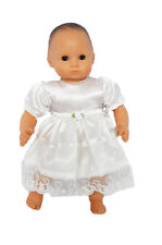 """15"""" Doll Clothes White Satin Dress fits Bitty Baby Girl Doll Easter Dress"""
