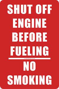 Shut Off Engine Before Fueling/No Smoking sticker