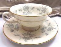 Castleton Vintage Tea Cup Saucer Pale Blue Grey Porcelain Gold Trim Estate USA