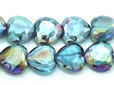 9284 Bead Glass Heart Teal 16mm PK6 *UK EBAY SHOP*