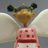Brown Girl Angel Christmas Ornament Bell Black Hair 2007 DT-K Signature