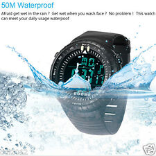 Men's LED Digital Date Waterproof Silicone Band Military Sport Wrist Watch Black