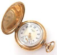 .SUPER RARE ONLY 7,000 MADE 1907 ELGIN 0S 11J POCKET WATCH W/ 14K GOLD CASE