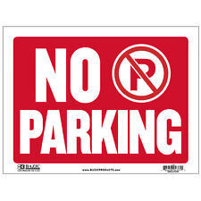 "BAZIC ""No Parking"" Sign Heavy Duty Plastic for Outdoor, Red/White, 9 x 12 Inch"