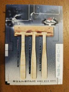 2002 SP FLEER BOX SCORE TRIPLE GAME USED BAT JETER - GARCIAPARRA - RODRIGUEZ