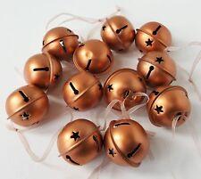 Gisela Graham Gold Rose Copper Metal Jingle Bell Baubles Decoration 12 Pack 40mm