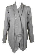 Dkny Silver Sequin Embellished Draped Open Front Cardigan  XS-S