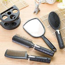 Plastic Salon Hair Comb And Mirror Set Hair Brush Massage Comb Mirror Holder MU