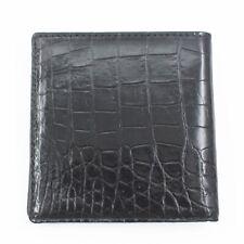 Crocodile Skin Men's Bifold Belly Leather Wallet Black, No Zipper
