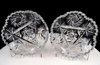 "AMERICAN BRILLIANT CUT CRYSTAL BUZZSAW & STARBURST 2 PIECE 5 3/4"" BOWLS"