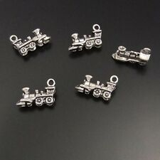 01600 Antiqued Silver Tone Retro Alloy Ancient Stream Train Pendant Charms 30pcs
