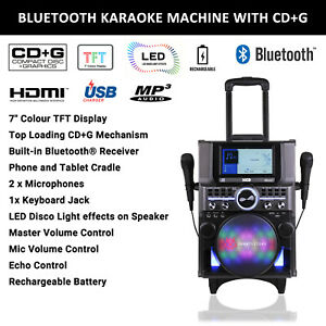 "Portable Karaoke Machine CD+G System Bluetooth Party Speaker 2 Mics 7"" Screen"