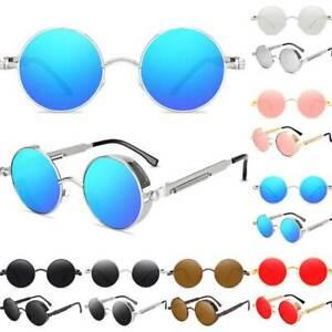Retro Hippie Runde Brillen Vintage Steampunk Sonnenbrille Side Shield Rundbrille