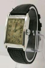 Vtg 1927 Sorority Watch Co. Solid Sterling Silver Tank Mens Wrist Watch 25x39mm