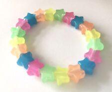 Halloween Glow In the Dark Stars Rainbow Plastic Star Bead Elasticated Bracelet