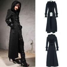 RQ-BL21230 Elegant Gothic Aristocrat Long Black Coat Hood Brocade Damask