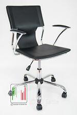 Poltrona Orion di design cromata da ufficio scrivania e studio finto cuoio nero