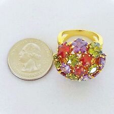 Joan Rivers New Dome Ring Lavender Olive Red Flower Shaped Swarovski Crystals 9