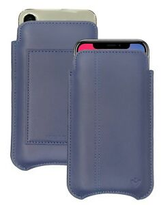 Samsung S8   S9 Case Blue Real Leather NueVue Screen Cleaning Sanitizing Wallet