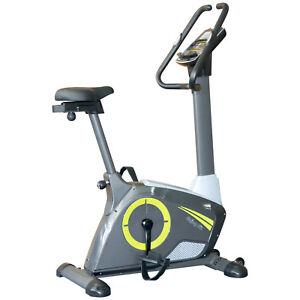 Ergometer Heimtrainer Fahrradtrainer m. Handpuls-Sensoren Display Transportrolle