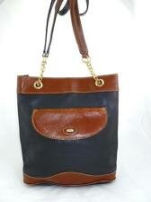 VINTAGE BALLY USED PEBBLED LEATHER/CHAIN BROWN/BLACK TOTE/SHOULDER BAG ITALY