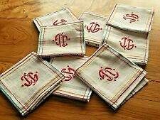 Vintage 8 Serviettes coton a rayures et Monogramme IG ?