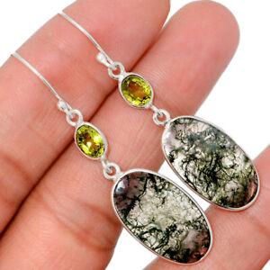 Moss Agate - India & Peridot 925 Sterling Silver Earrings Jewelry BE6866