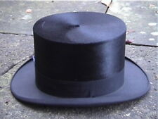 Large Antique Continental Black Silk Top Hat Sz 7 ..