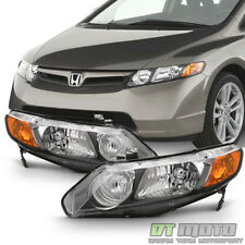 For Black 2006-2011 Honda Civic 4Dr Sedan Headlights Headlamps 06-11 Left+Right